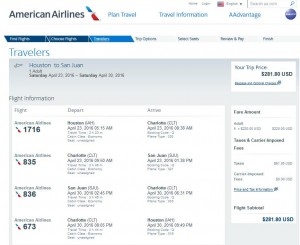 Houston-San Juan: American Airlines Booking Page