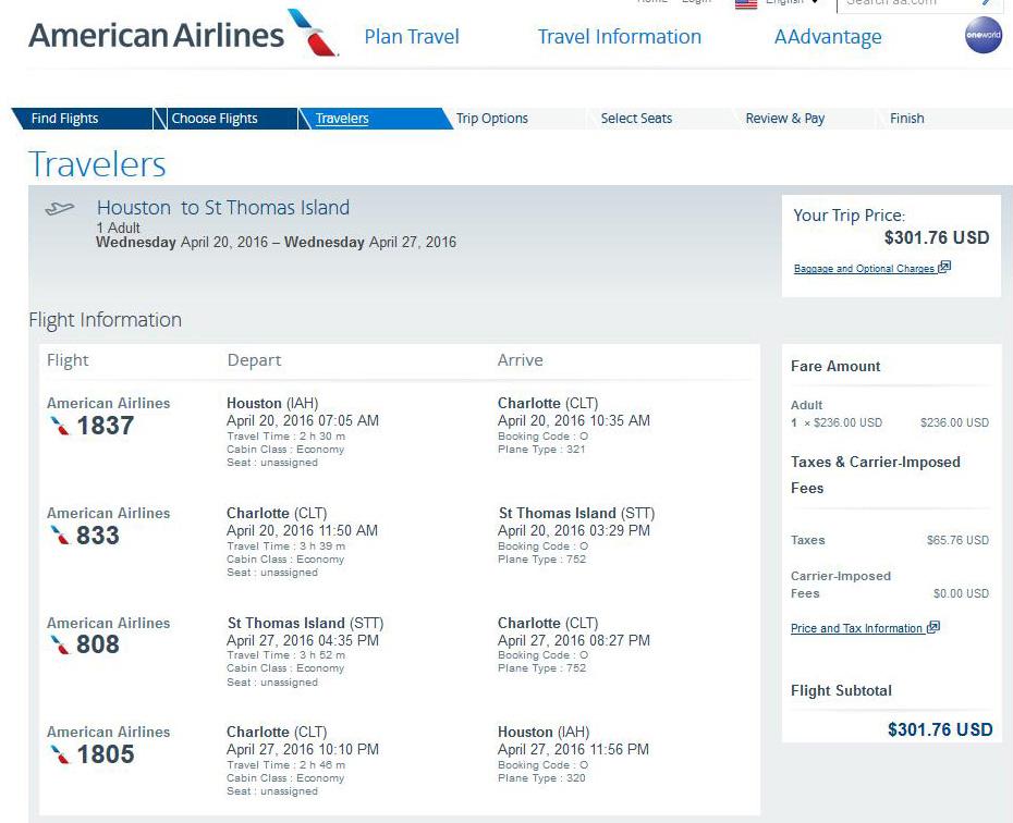 American Airlines Flights To Virgin Islands