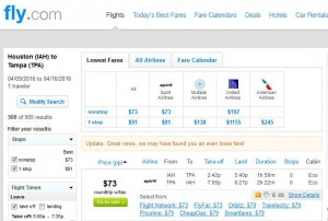 Houston-Tampa: Fly.com Search Results