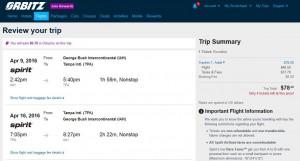 Houston-Tampa: Orbitz Booking Page