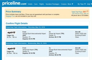 Houston-Tampa: Priceline Booking Page