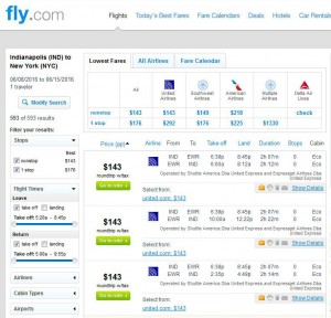 Indianapolis-New York City: Fly.com Search Results
