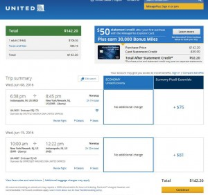 Indianapolis-New York City: United Airlines Booking Page