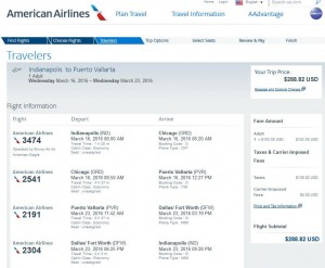 Indianapolis-Puerto Vallarta: American Airlines Booking Page