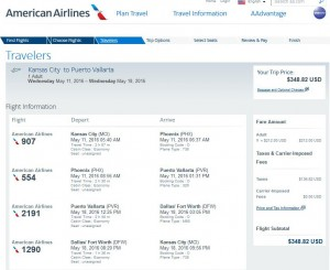 Kansas City-Puerto Vallarta: American Airlines Booking Page
