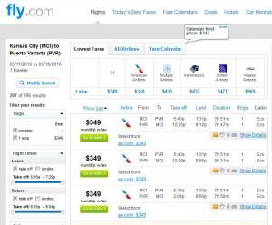 Kansas City-Puerto Vallarta: Fly.com Search Results