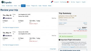 LA to Cancun: Expedia Booking Page