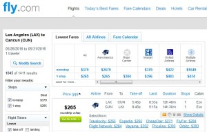 LA to Cancun: Fly.com Results