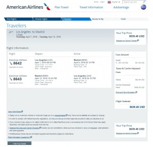 LA to Madrid: American Airlines Booking Page