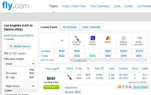 LA to Madrid: Fly.com Results