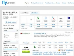LA to Orlando: Fly.com Results