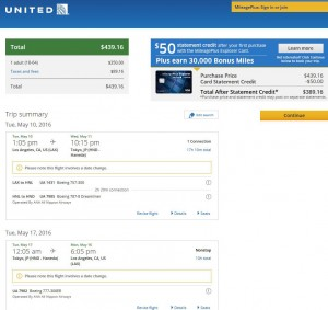 Los Angeles-Tokyo: United Airlines Booking Page
