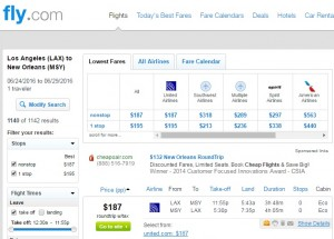 Los Angeles to New Orleans: Fly.com Results