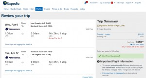Los Angeles to Quito: Expedia Booking Page
