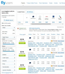 Los Angeles to Quito: Fly.com Results