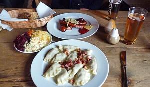 Lunch of Pierogi, Salad & Polish Sausage (Godfrey Hall)
