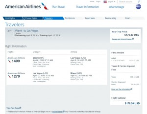 Miami to Las Vegas: American Airlines Booking Page
