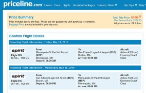 Minneapolis-Boston: Priceline Booking Page