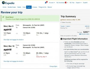 Minneapolis-Cancun: Expedia Booking Page