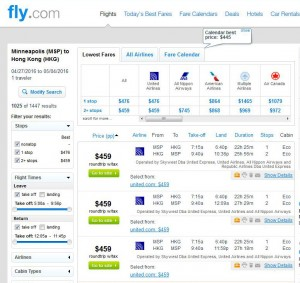 Minneapolis-Hong Kong Fly.com Search Results