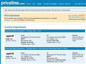Minneapolis-Los Angeles: Priceline Booking Page