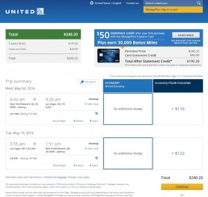 NYC to Las Vegas: United Booking Page