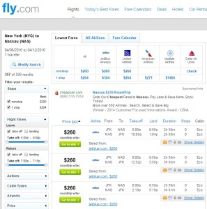 NYC to Nassau, Bahamas: Fly.com Results