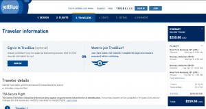 NYC to Nassau, Bahamas: JetBlue Booking Page