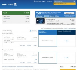NYC to Orlando: United Booking Page