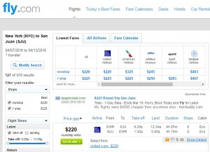 NYC to San Juan: Fly.com Results