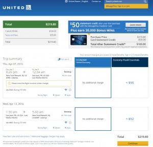 NYC to San Juan: United Booking Page