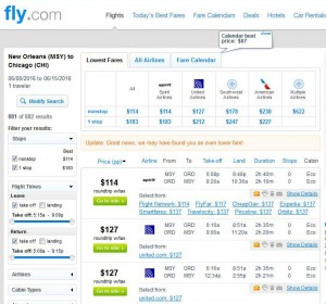 New Orleans-Chicago: Fly.com Search Results