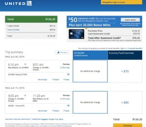 New Orleans-Chicago: United Airlines Booking Page