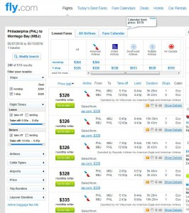Philadelphia-Montego Bay: Fly.com Search Results