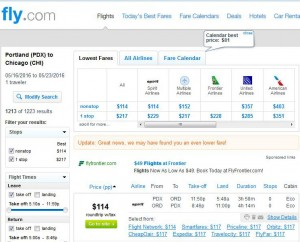 Portland-Chicago: Fly.com Search Results