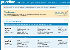 Portland-Chicago: Priceline Booking Page