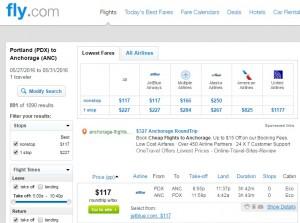 Portland to Anchorage, Alaska: Fly.com Results