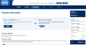 Portland to Anchorage, Alaska: JetBlue Booking Page