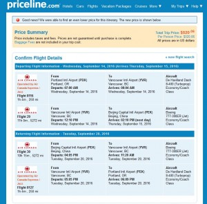 Portland to Beijing: Priceline Booking Page