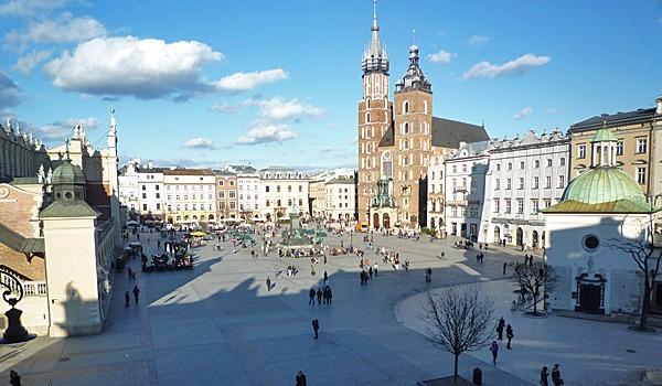 Rynek Glowny, Krakow's main square, view from the Hotel Wentzl (Godfrey Hall)