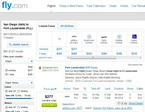 San Diego to Fort Lauderdale: Fly.com Results