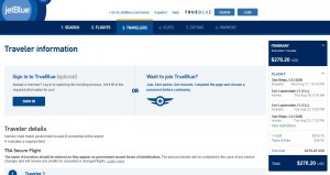 San Diego to Fort Lauderdale: JetBlue Booking Page