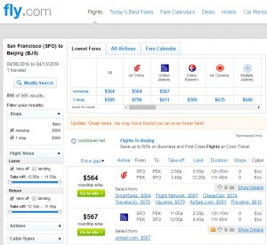 San Francisco to Beijing: Fly.com Results