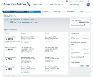 San Francisco to Cabo: American Airlines Booking Page