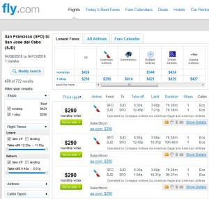 San Francisco to Cabo: Fly.com Results