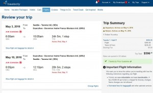 Seattle-Sao Paulo: Travelocity Booking Page