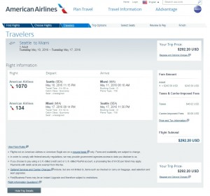 Seattle to Miami: American Airlines Booking Page