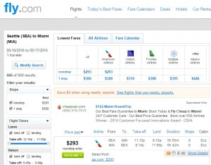 Seattle to Miami: Fly.com Results