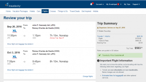 NYC to Paris: Travelocity Booking Page