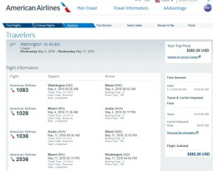 Washington, D.C.-Aruba: American Airlines Booking Page